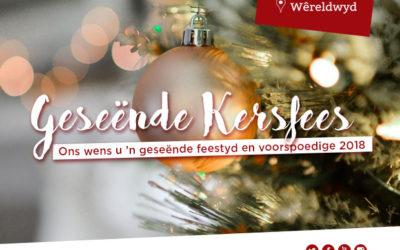 Geseënde Kersfees aan al ons lesers en ondersteuners