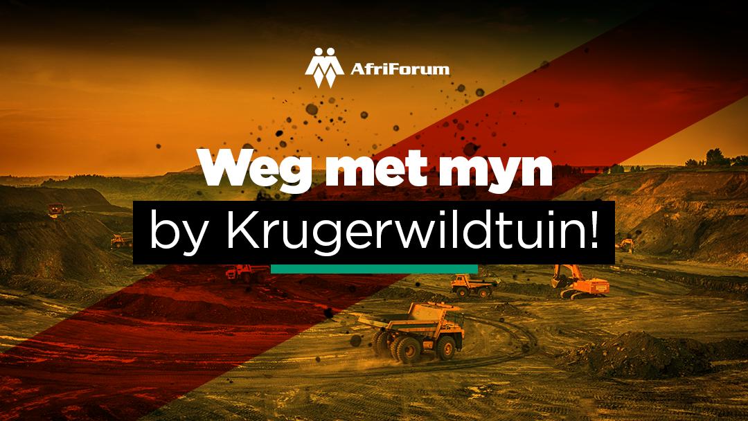 AfriForum staan steenkoolmyn by Nasionale Krugerwildtuin teen